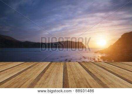 Stunning Vibrant Sunrise Landscape Over Lulworth Cove Jurassic Coast England With Wooden Planks Floo