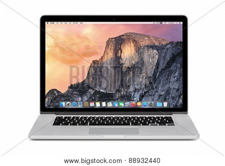 Front View Of Apple 15 Inch Macbook Pro Retina With Os X Yosemite On The Display