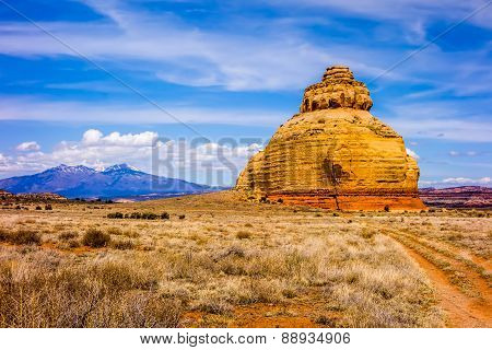 Church rock US highway 163 191 in Utah east of Canyonlands National Park poster