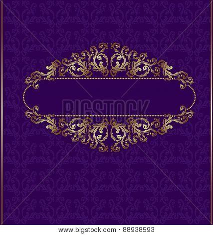 Florish violet Background with golden pattern around banner
