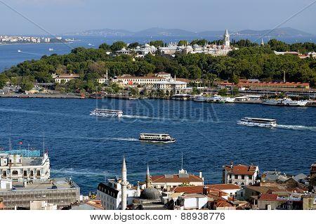 View towards the Topkapi Palace Istanbul, Turkey