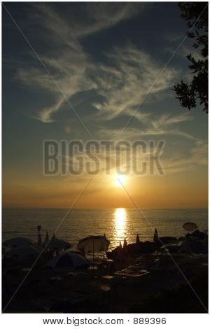the sunset at the beach in montenegro poster