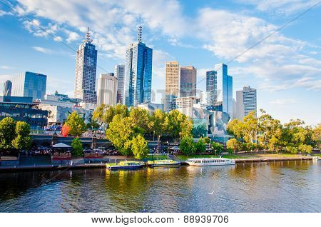 Panoramic View Over Yarra River And City Skyscrapers In Melbourne, Australia