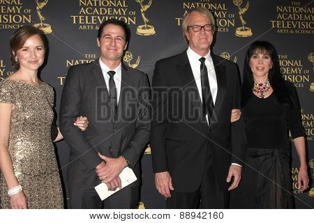 LOS ANGELES - FEB 24:  Mr & Mrs Gib Gerard, John Tesh, Connie Sellecca at the Daytime Emmy Creative Arts Awards 2015 at the Universal Hilton Hotel on April 24, 2015 in Los Angeles, CA