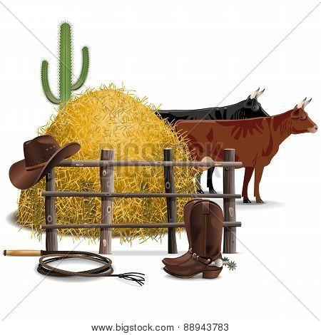 Vector Cowboy Farming Concept