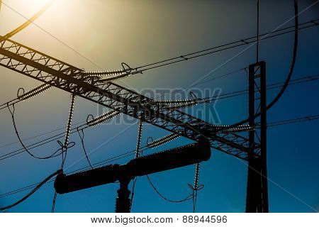 Silhouette Of Industrial Pylon For Electricity Distribution