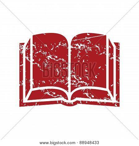 Red grunge book logo