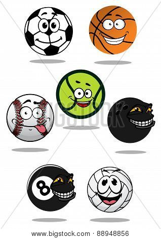 Cute cartoon sports balls mascot characters