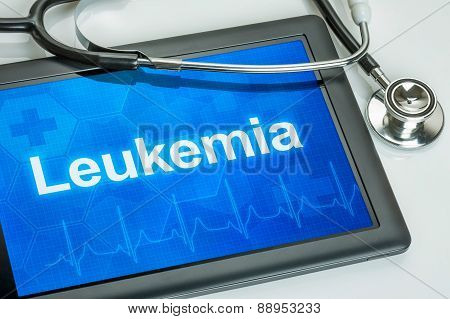Tablet With The Diagnosis Leukemia On The Display