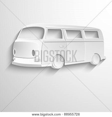 Van icon, isolated, white on the light background. Exclusive Symbols