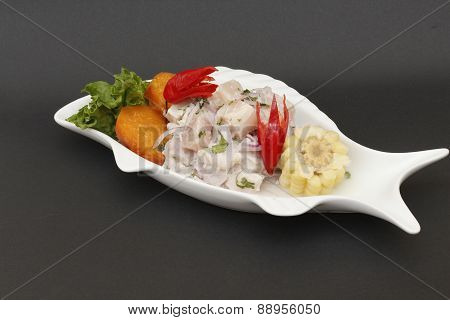 Peruvian Ceviche - Fish fillet with chili and lemon juice. poster