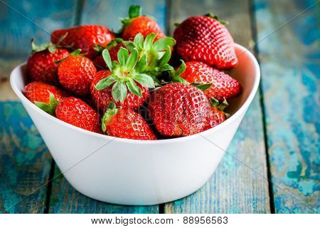 Fresh Ripe Organic Strawberries In A White Bowl