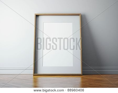 Classic Picture Frame And Sunlight On A Wall. 3D Render