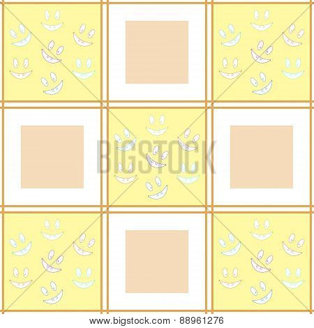 Cheerful Checkered Seamless Pattern With Laughing Toothy Smileys