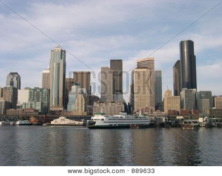 Seattle Skyline With Ferry