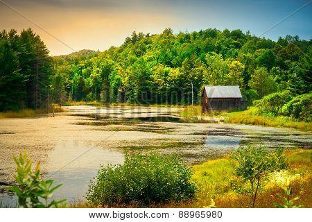 River Side Wooden Cabin Scenic Landscape