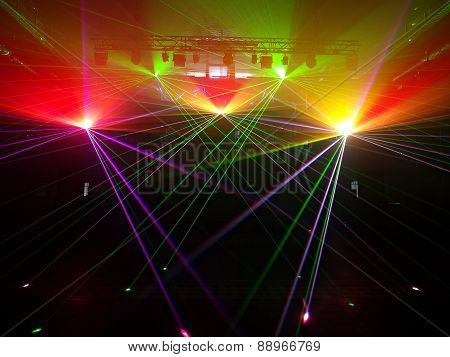 Laser lights in the old power station in Lodz.