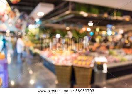 Blur Background Photograph Of Colorful Supermaket In The Department Store Building
