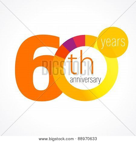 60 years old round logo. Anniversary year of 60 th vector chart template medal. Birthday greetings circle celebrates. Celebrating numbers. Colorful digits. Figures of ages, cut sections. Letter O orange.