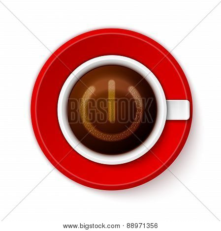 Cup of coffee with Power symbol