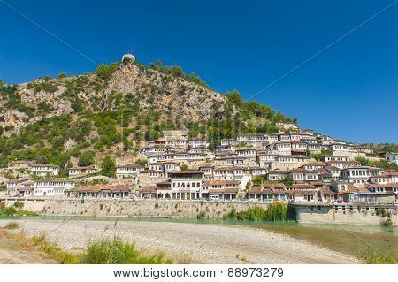 Old Albanian town of Berat is one of the well-known UNESCO landmarks of the country  poster