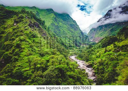 Beautiful landscape in Himalayas mountains, Annapurna area. Bright colors, pristine nature. Nepal