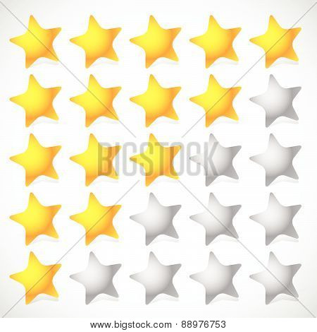 5 Star Star Rating Element. Vector Graphics.