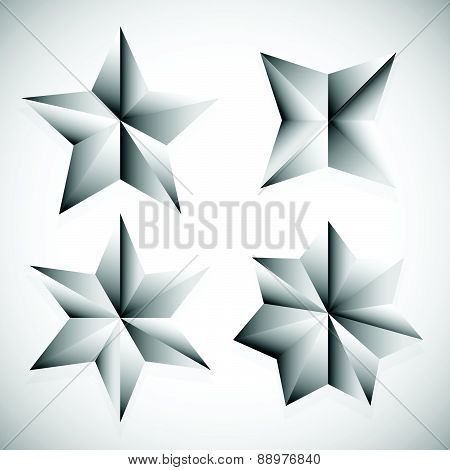Faceted Stars Vector Illustration Isolated On White With Shadow