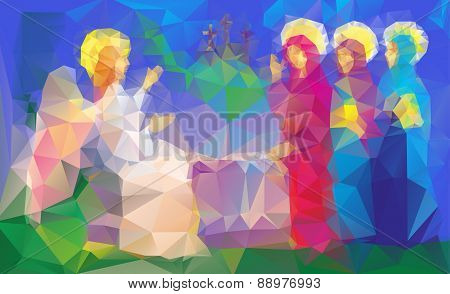 scene of Mary Magdalene  near enty tomb, became  to see Jesus after his resurrection, in triangles style poster
