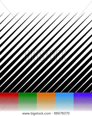 Abstract Background, Lines Pattern. Set Of 6 Monochrome Versions. Red, Green, Orange, Blue And Purpl