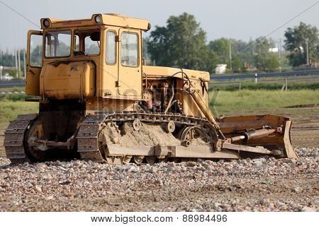 Old dozer at a construction site