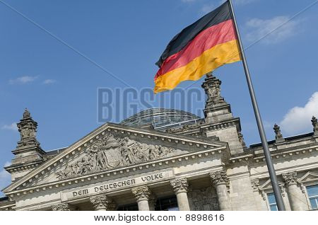 German Flag And Reichstag