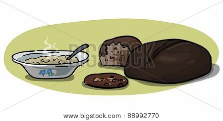 Grains - Oatmeal And Rye Bread Vector