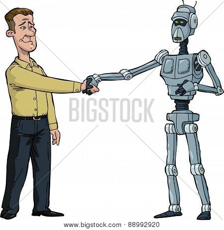 Handshake Man And Robot