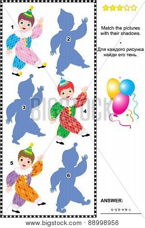 Match to shadow visual puzzle - circus clowns