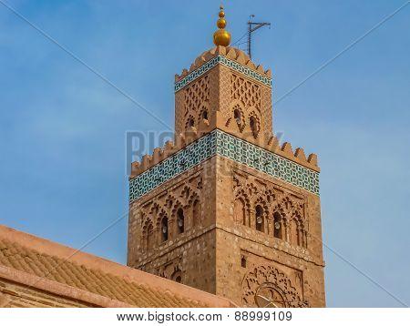 Minaret Of The Koutoubia Mosque In Marrakesh Morocco