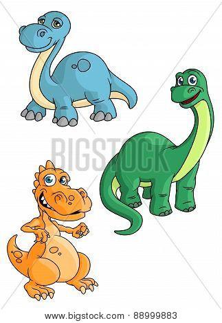 Cute cartoon green, blue and orange dinosaur mascots
