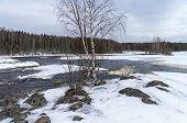 Rapids on Shuya river in winter. Low water. Karelia Russia. poster