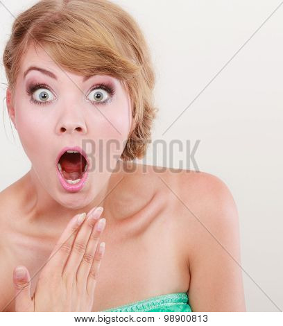Wide Eyed Woman Surprised Girl Open Mouth