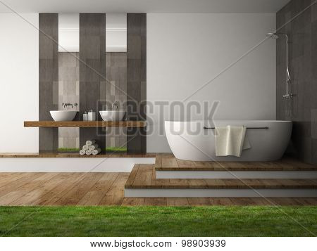 Interior of  bathroom with grass 3D rendering