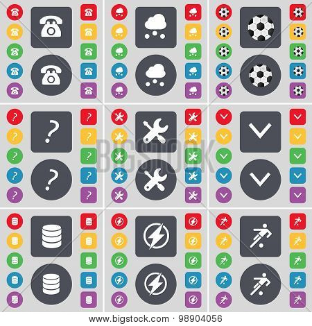 Retro Phone, Cloud, Ball, Question Mark, Wrench, Arrow Down, Database, Flash, Silhouette Icon Symbol