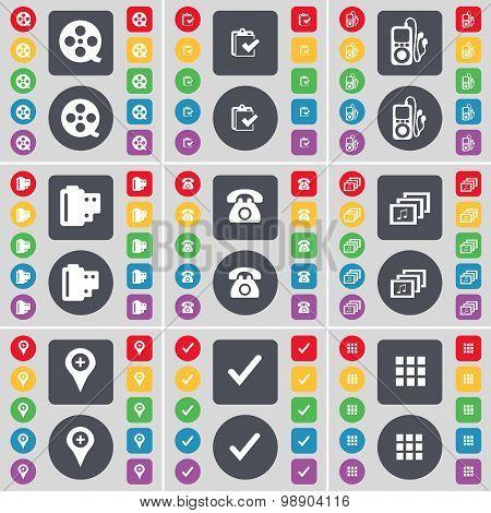 Videotape, Survey, Mp3 Player, Negative Films, Retro Phone, Gallery, Checkpoint, Tick, Apps Icon Sym
