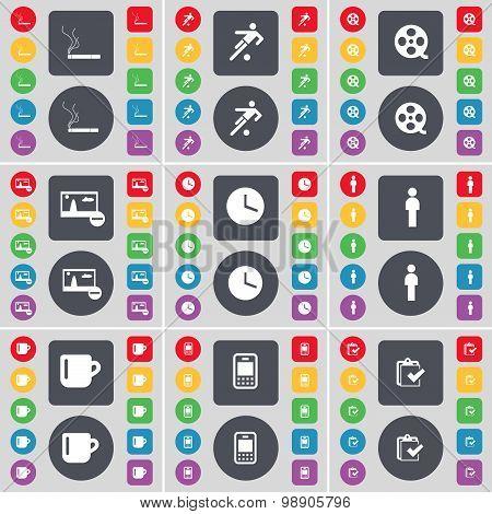 Cigarette, Silhouette, Videotape, Picture, Clock, Silhouette, Cup, Mobile Phone, Survey Icon Symbol.