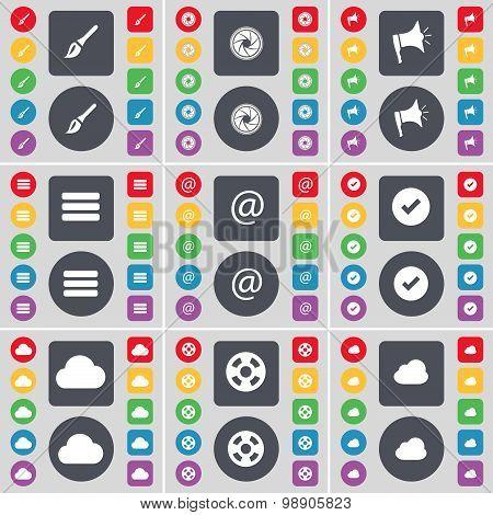 Brush, Lens, Megaphone, Apps, Mail, Tick, Cloud, Videotape Icon Symbol. A Large Set Of Flat, Colored