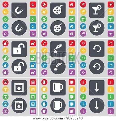 Magnet, Videotape, Cocktail, Lock, Ink Pen, Reload, Window, Cup, Arrow Down Icon Symbol. A Large Set