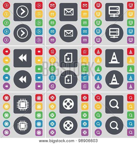 Arrow Right, Message, Server, Rewind, Upload File, Cone, Processor, Videotape, Magnifying Glass Icon