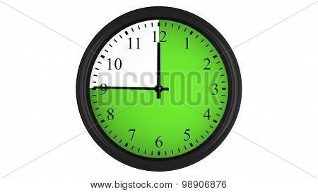 Wall clock with a green 45 minutes time interval