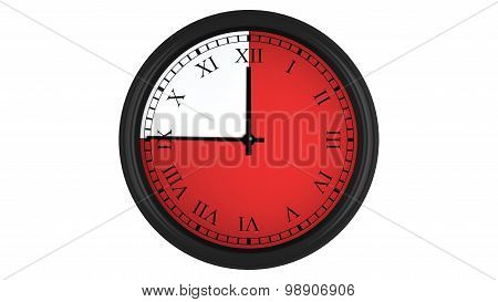 Roman wall clock with red 45 minutes time interval