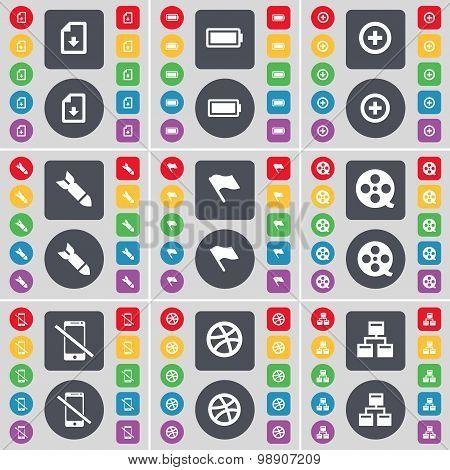Download File, Battery, Plus, Rocket, Flag, Videotape, Smartphone, Ball, Network Icon Symbol. A Larg