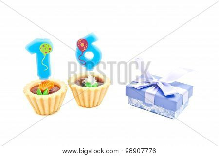 Cakes With Sixteen Years Birthday Candles And Gift
